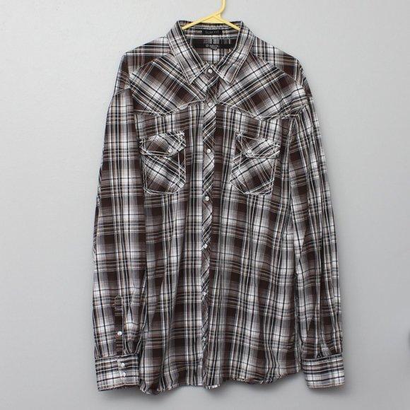 CJ Black Slim Fit plaid pearl snap western shirt